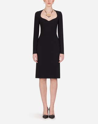 Dolce & Gabbana Long-Sleeved Cady Midi Dress