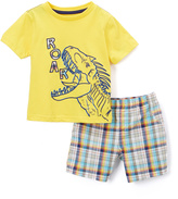 Buster Brown Yellow Dinosaur Tee & Plaid Shorts - Infant & Toddler