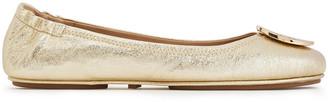 Tory Burch Reva Metallic Textured-leather Ballet Flats