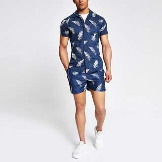 River Island Selected Homme navy print regular fit shirt
