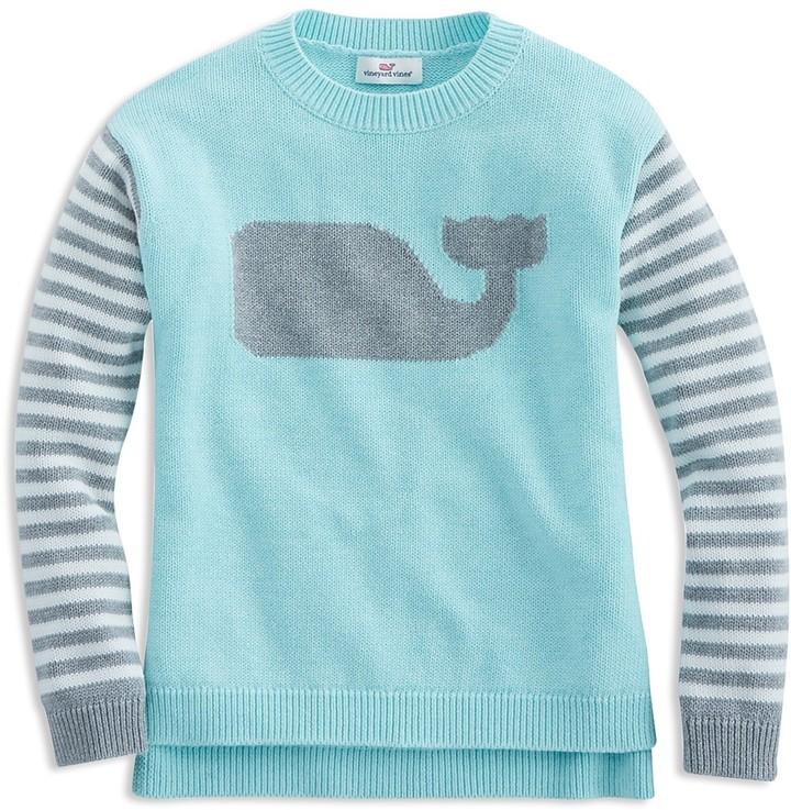 Vineyard Vines Girls' Striped Whale Sweater