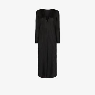 Pleats Please Issey Miyake V-neck plisse midi dress