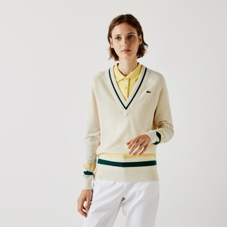 Lacoste Women's SPORT Recycled Cashmere V-neck Golf Sweater