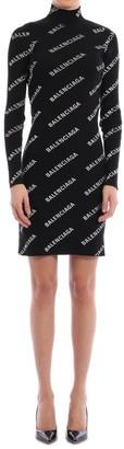 Balenciaga All Over Logo Bodycon Dress