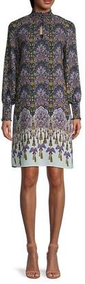 Nanette Lepore Smocked Neck Cuff Print Dress