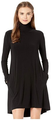 KAMALIKULTURE by Norma Kamali Long Sleeve Turtle Swing Dress (Black) Women's Dress