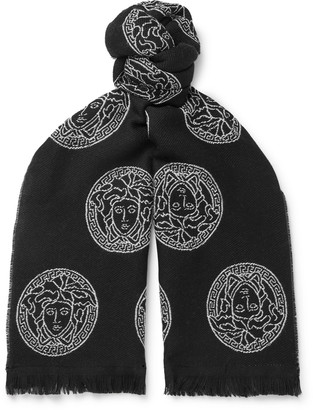 Versace Logo-Embroidered Wool Scarf