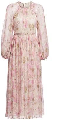 Zimmermann Super 8 Silk Floral Blouson-Sleeve Midi Dress