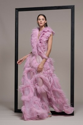 Isabel Sanchis Sleeveless Feathered Evening Gown