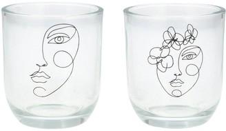 Gisela Graham Set 2 Face Glass Tealight Holders