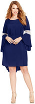 Love Squared Trendy Plus Size Bell-Sleeve Crochet-Trim Dress