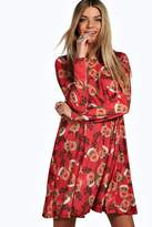 Boohoo Alexis Reindeer Printed Swing Christmas Dress