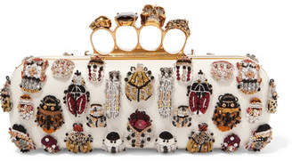 Alexander McQueen Knuckle Embellished Leather Clutch - White