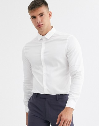 ASOS DESIGN skinny fit textured shirt in white