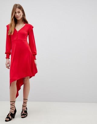 Asos Design Shirred Cuff Button Tea Dress with Asymmetric Hem