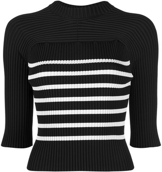 KHAITE Quincy striped ribbed top