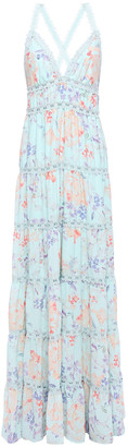 Alice + Olivia Lace-trimmed Tiered Floral-print Crepe De Chine Maxi Dress