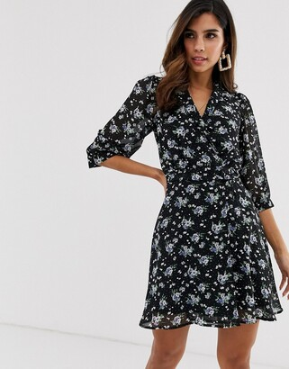 Yumi floral wrap dress-Black