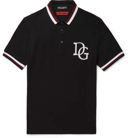 Dolce & Gabbana Stripe-Trimmed Appliquéd Cotton-Piqué Polo Shirt