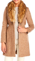 Ivanka Trump Wool Blend Coat with Removable Faux Fur Trim