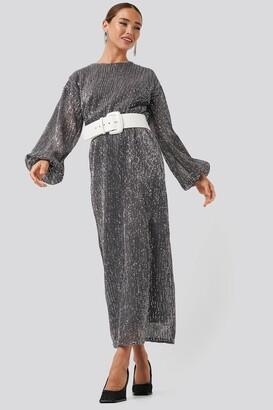 NA-KD Open Back Sequin Dress Black