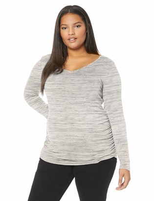 Motherhood Maternity Women's Maternity Plus-Size Long Sleeve V-Neck Side Ruched Tee Shirt