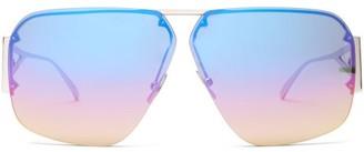 Bottega Veneta Mirrored Triangle-temple Aviator Metal Sunglasses - Silver Multi