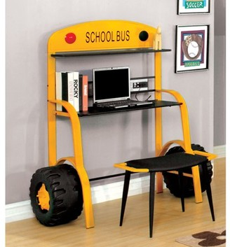 Furniture of America Billy Yellow School Bus Desk Set