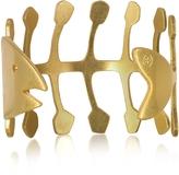 Tory Burch Fish Bone Vintage Goldtone Brass Cuff Bracelet