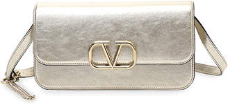 Valentino Garavani VSLING Metallic Leather Shoulder Clutch Bag