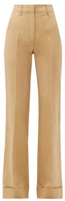 Victoria Beckham High-rise Cotton-blend Trousers - Beige