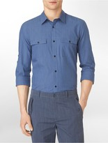 Calvin Klein Slim Fit Non-Iron Oxford Roll-Up Shirt