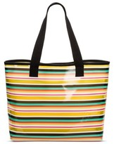 Mossimo Women's Stripe Jelly Beach Tote Teal/Yellow Stripe