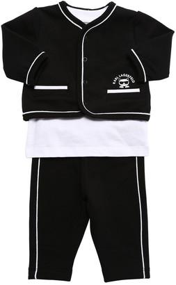 Karl Lagerfeld Paris Cotton Cardigan, Sweatpants & T-shirt