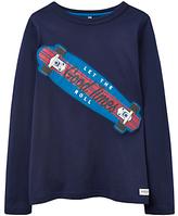 Joules Little Joule Boys' Junior Wild Side Print Sweatshirt, Navy