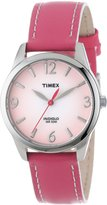 Timex Women's T2N864 Pink Leather Strap Contrast Stitching Watch