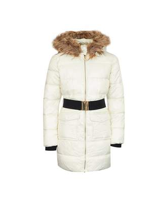 GUESS Guess? Faux Fur Trim Belted Coat Colour: WHITE, Size: Age 16