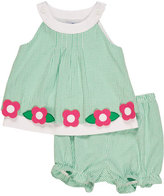 Florence Eiseman Sleeveless Smocked Gingham Seersucker Dress w/ Bloomers, Green, Size 3-24 Months