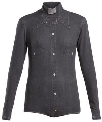 Vetements Denim Shirt-print High-neck Bodysuit - Womens - Dark Grey