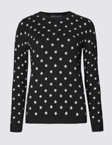 Marks and Spencer Star Print Crew Neck Jumper