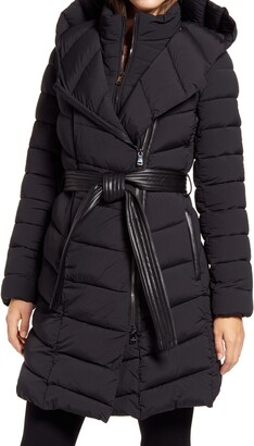 Bernardo Water Resistant Asymmetrical Zip Belted Puffer Coat