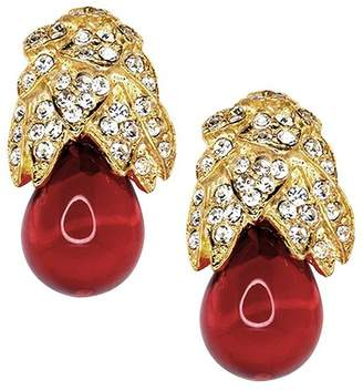 Kenneth Jay Lane Gold, Rhinestone And Ruby Clip Earrings