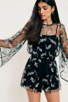 Urban Outfitters Jordana Embroidered Floral Mesh Playsuit