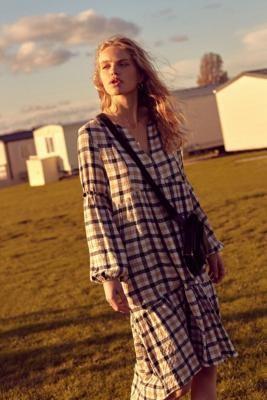 Urban Outfitters Frida Check Midi Dress - black XS at