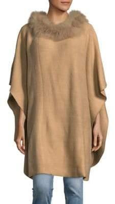 Adrienne Landau Knit Fox Fur Trimmed Poncho