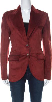 Dolce & Gabbana Red Suede Metal Embellished Blazer S