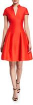 Halston V-Neck Cap-Sleeve Silk Faille Dress w/ Mandarin Collar