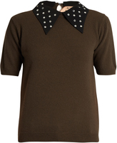 No.21 NO. 21 Embellished-collar wool sweater