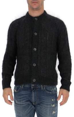 Prada Ribbed Knitted Crewneck Cardigan