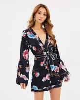Missguided Pyjama Style Tie Floral Playsuit